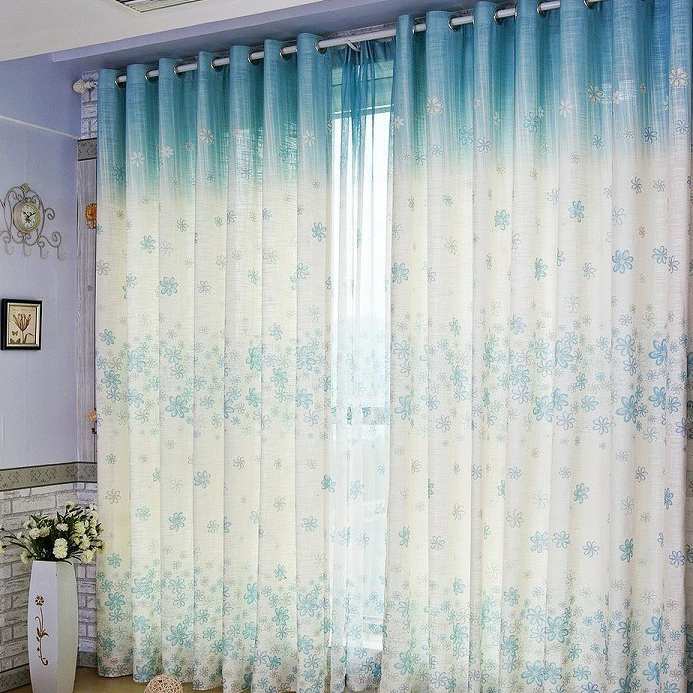 Fancy floral printing yarn and linen blended curtains two panels c1427
