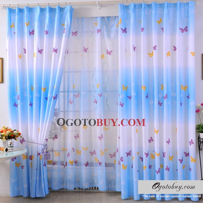 Fancy and Dreamy Butterfly Ice Blue Energy Saving Polyester Curtains
