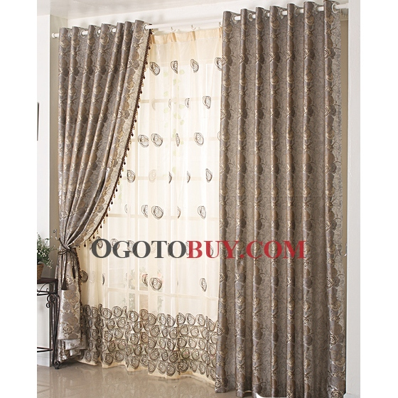 fantastic wellmade brown floral jacquard printed curtains