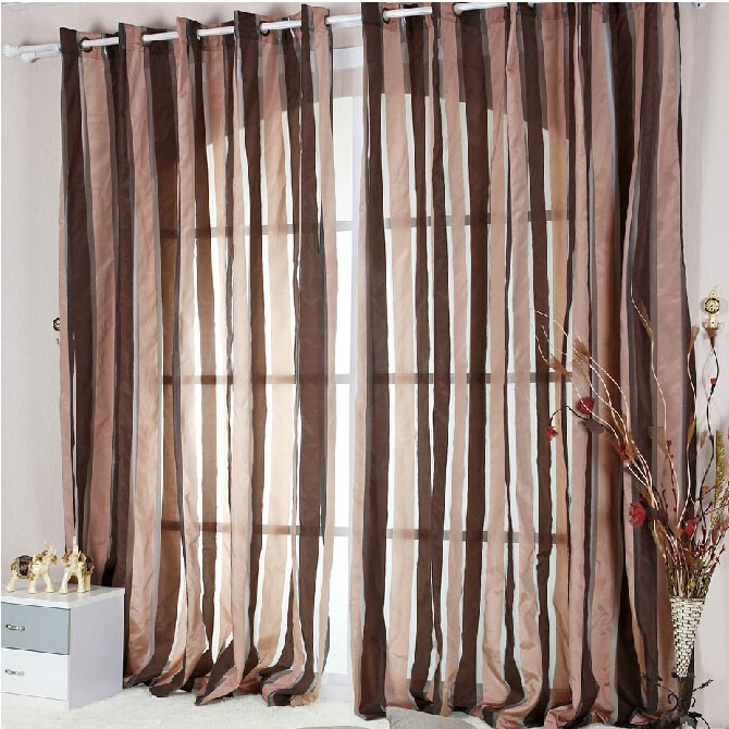 ... Brown Striped Sheer Curtains. Loading Zoom