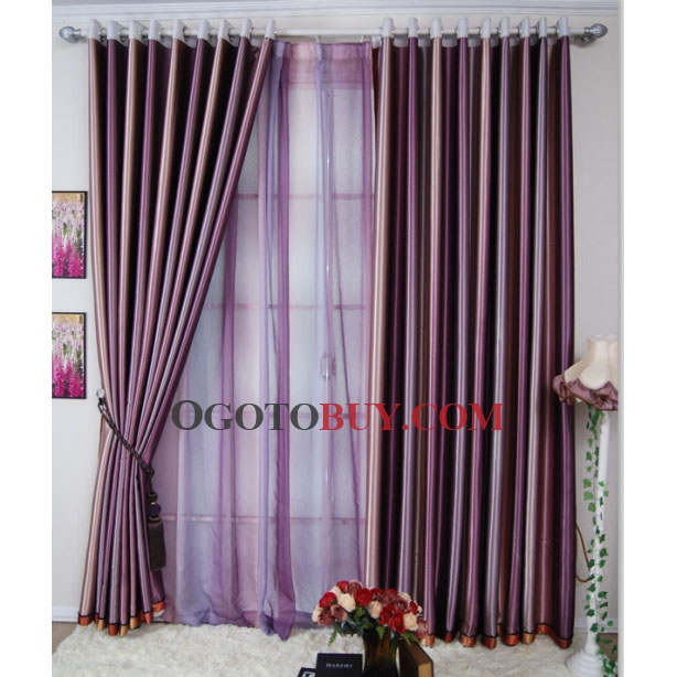 Fascinating Purple Striped Polyester Blackout Curtains