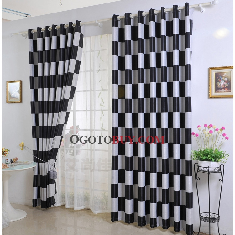 Black plaid curtains