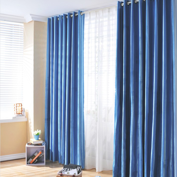 ... Blue Polyester Stripe Pattern Blackout Curtains. Loading Zoom