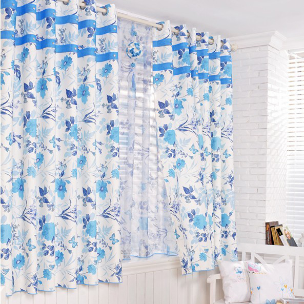 ... Blue Floral Printed Draped Blackout Curtains. Loading Zoom
