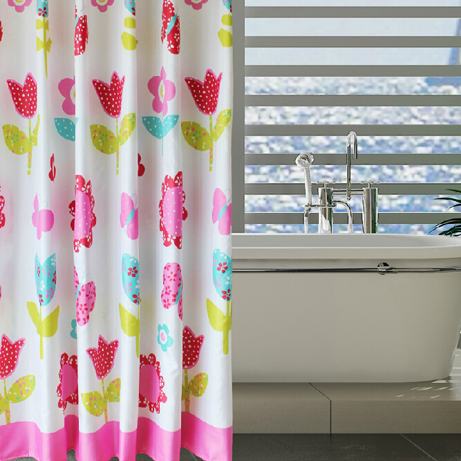 Good Quality Polyester Princess Style Flower Shower Curtain Loading Zoom