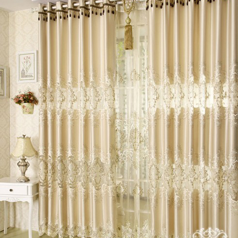 Gorgeous Hollow out Energy Saving Polyester Lace Curtains in Beige