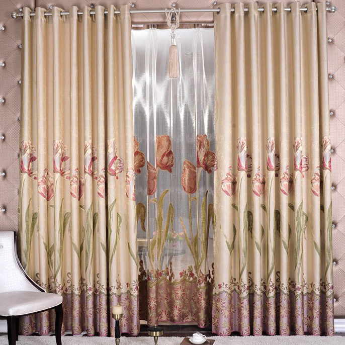 Graceful Flower Printed and Jacquard Poly Curtains