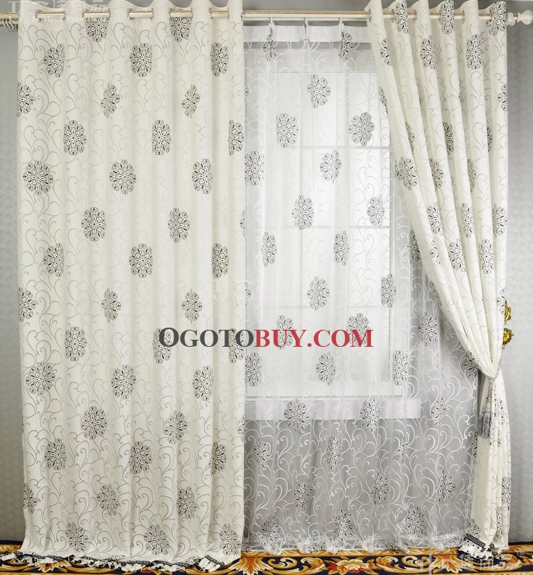 ... White Lined Cotton Curtains. Loading Zoom