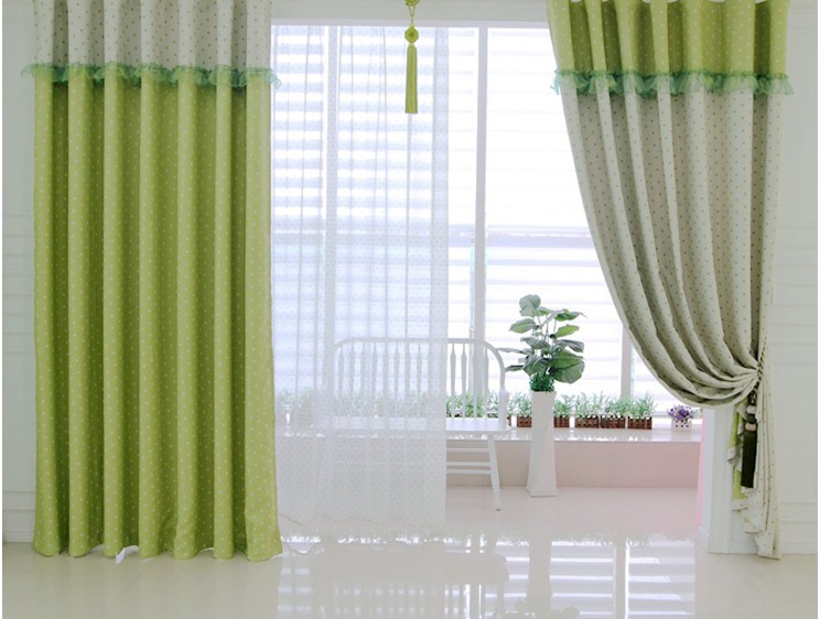 green curtains living room green elegant colorful dots country style