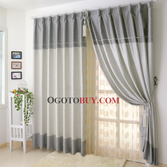 Grey Curtains With Modern Printed Polyester Materials