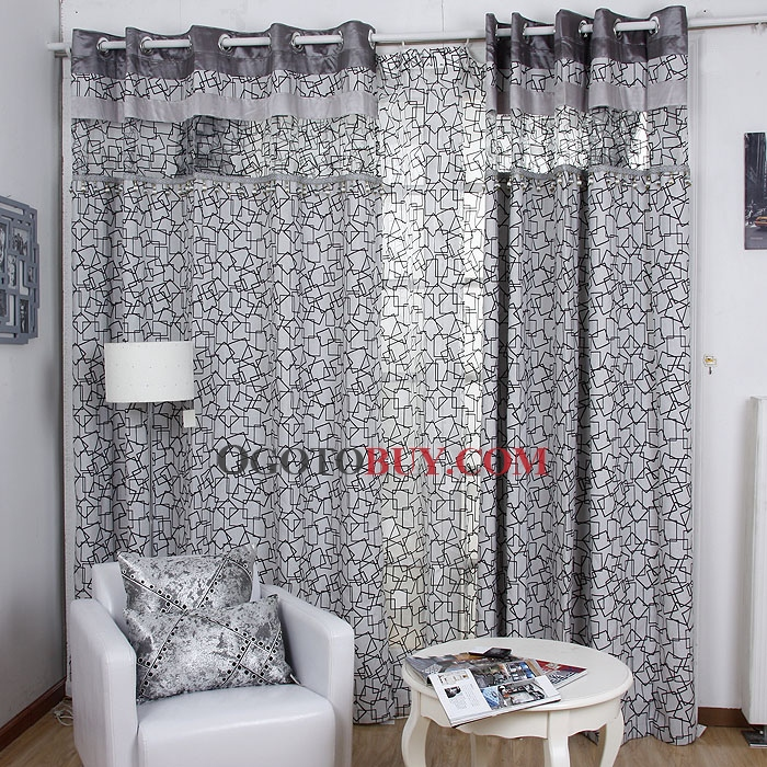 Perfect Grey Energy Saving Geometric Pattern Cotton/Poly Blend Curtains Part 17