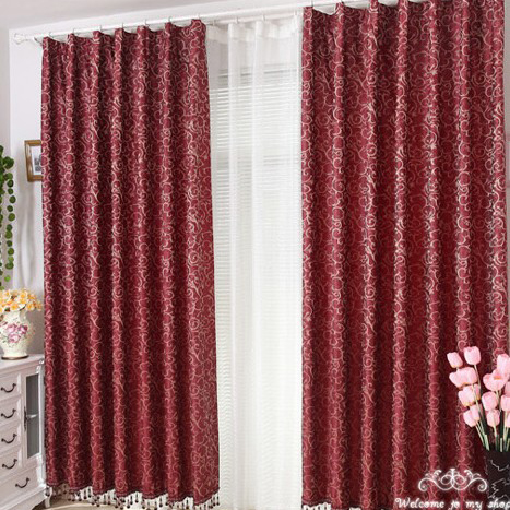 Delightful ... Red Floral Jacquard Blackout Curtains. Loading Zoom