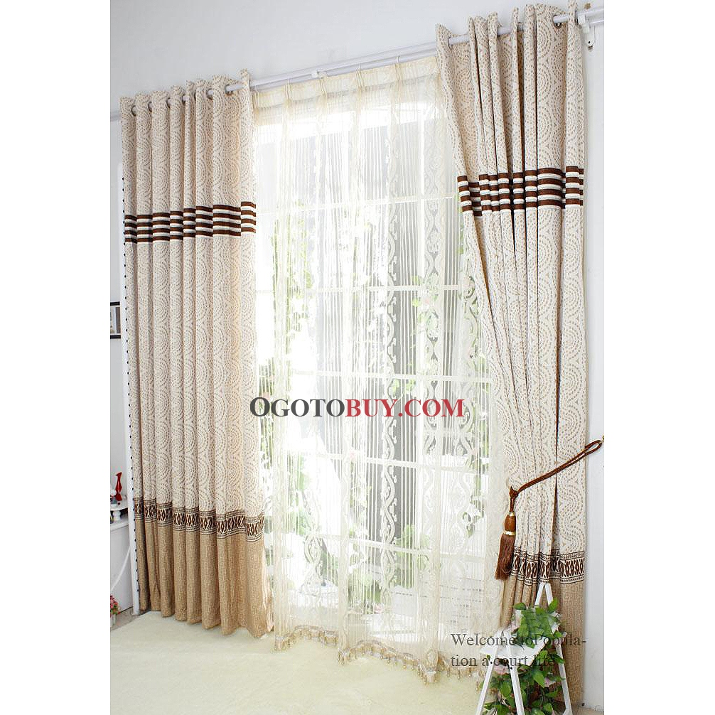 High Quality Eco Friendly Curtains With Coffee Geometric Patterns