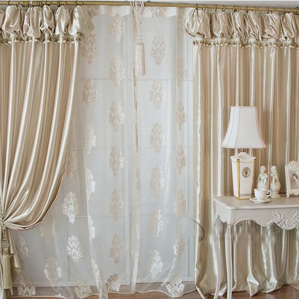 Elite High End Fashionable Champagne Gold Satin Living Room Curtain