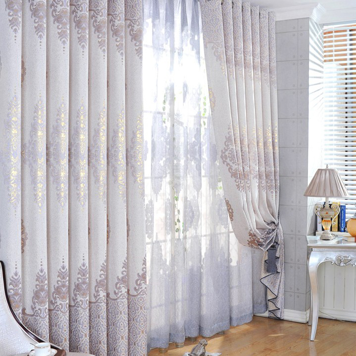 High-end Linen Like Grey Jacquard Printing Thermal Curtains