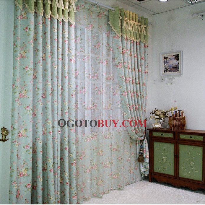 Ice Blue Little Pink Flowers Polyester/Cotton Eco-friendly Curtains