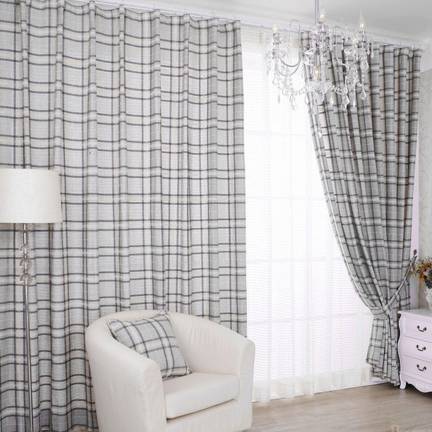curtains for country style jacquard light gray plaid country style eco friendly curtains