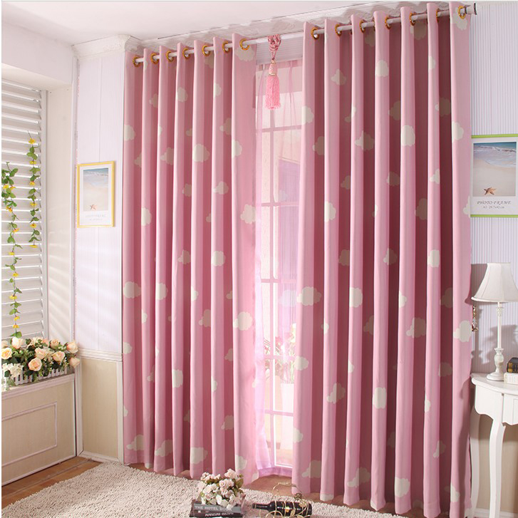 Pink Cotton Bedroom Curtains Loading Zoom