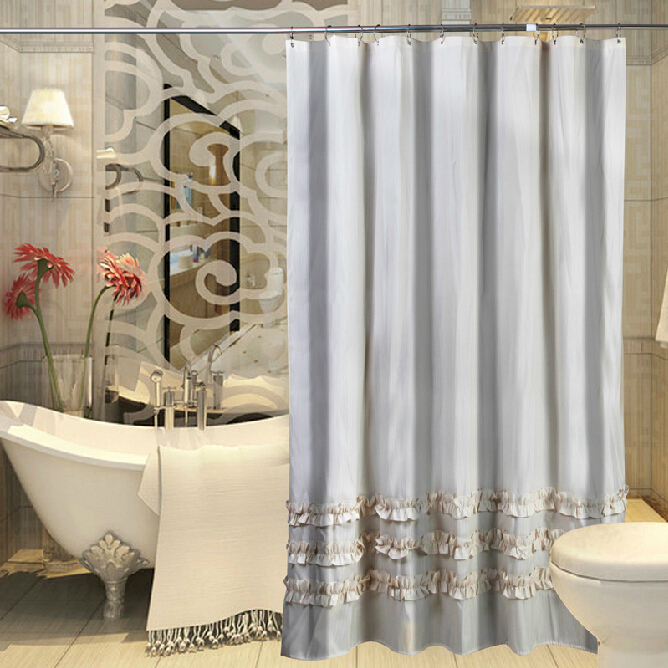 Lace Bottom Polyester High-end Window Shower Curtain, Buy Grey ...