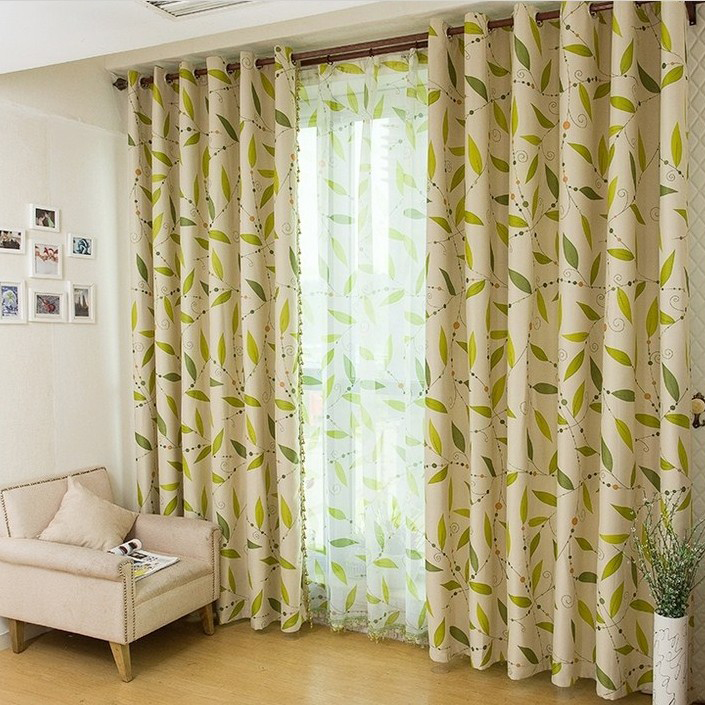 elite leaf printed blackout and thermal modern curtains