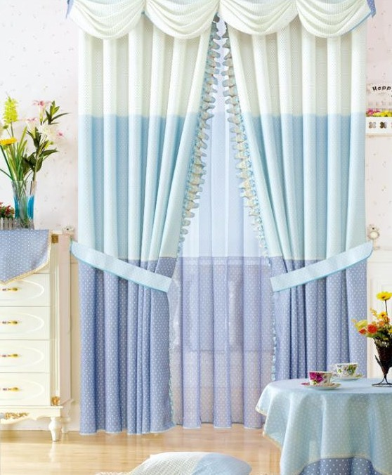 Light Blue Hit Color Splice Living Room Curtains Buy White Print