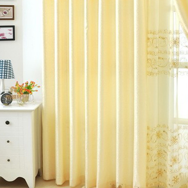 Light yellow embroidered noble living room curtains two panels ct0003
