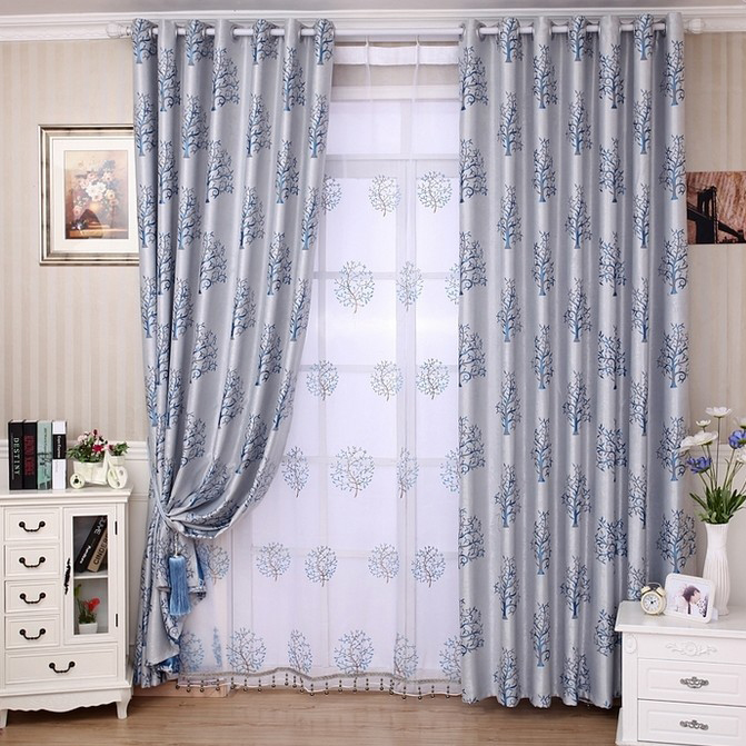 Living Room Curtains in Ice Blue with Tree Patterns Buy Grey