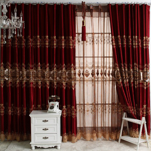 Blackout Curtains blackout curtains cheap : Luxurious Burgundy Hollow-out Blackout Curtains with Embroidery ...