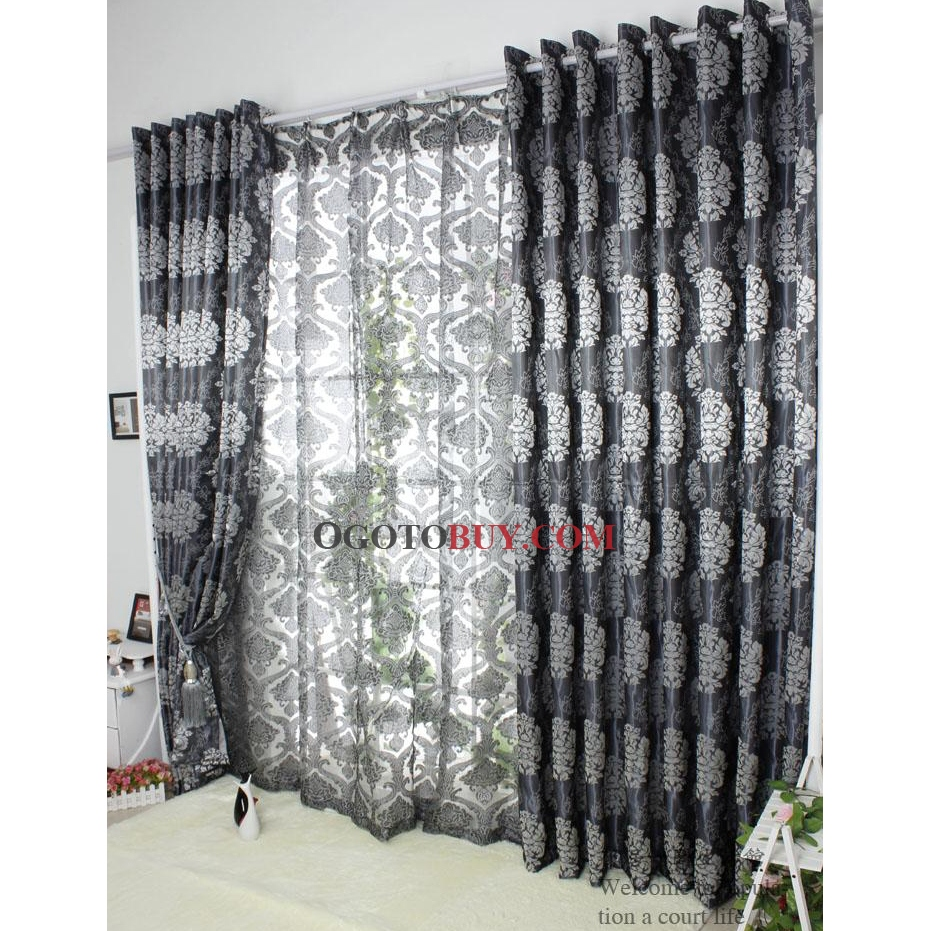 Cheap grey curtains - Loading Zoom Luxurious Printed Jacquard Grey Polyester Blend Thermal Curtains