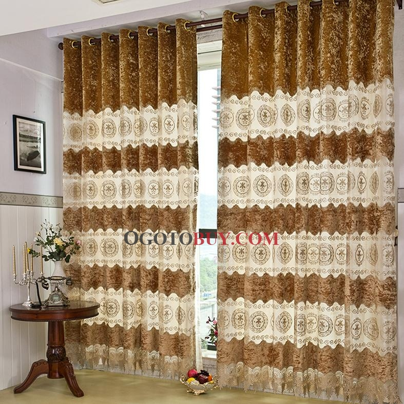 Luxurious Taste Gold Patterned Tulle/Poly Blend Curtains