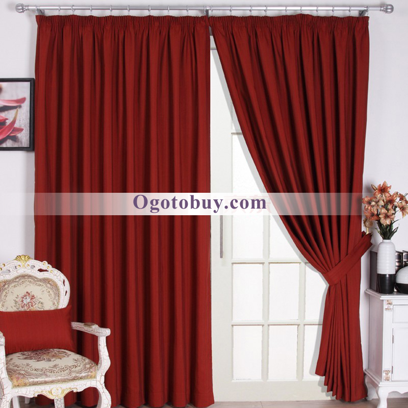 Burgundy Solid Room Darkening Jacquard Living Curtains Loading Zoom