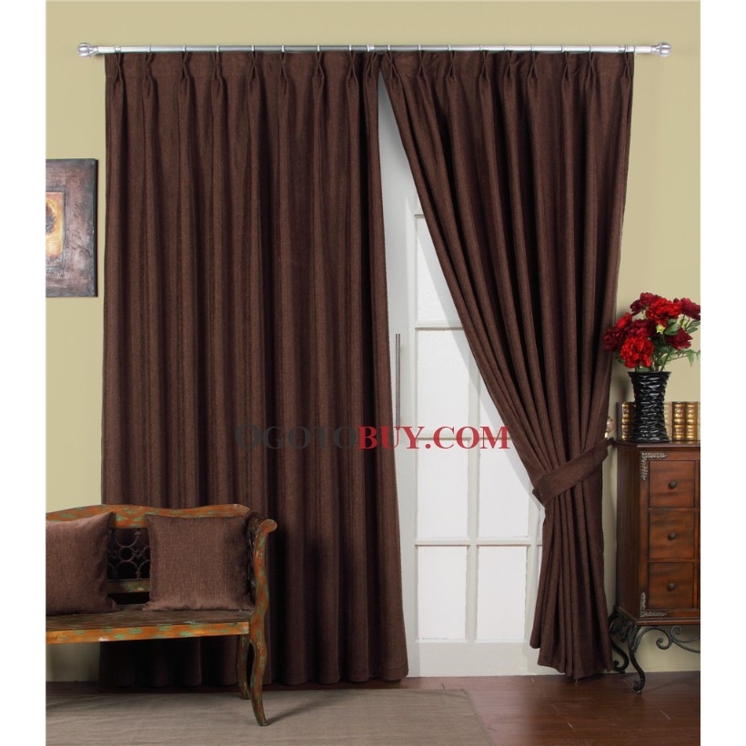 Brown curtains reddish brown lace curtain patterned with - Cortinas marron chocolate ...