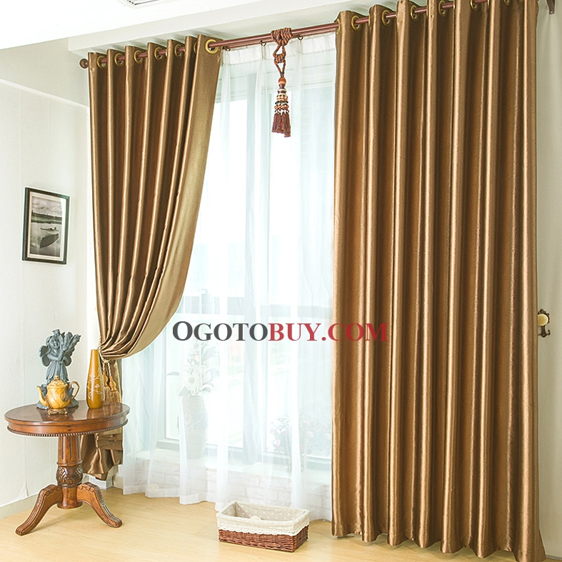 modern gold polyester smooth thermal and soundproof curtains