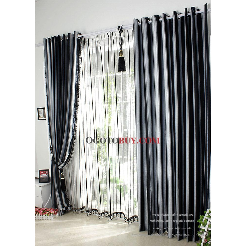 Contemporary curtains panels - Black And White Shower Curtain For Modern Bathroom