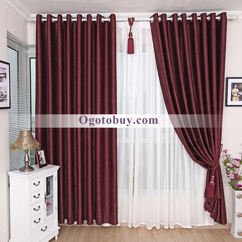 Merveilleux Modern Simple Thermal Blackout Dark Red Bedroom Curtains Buy Bedroom Decor