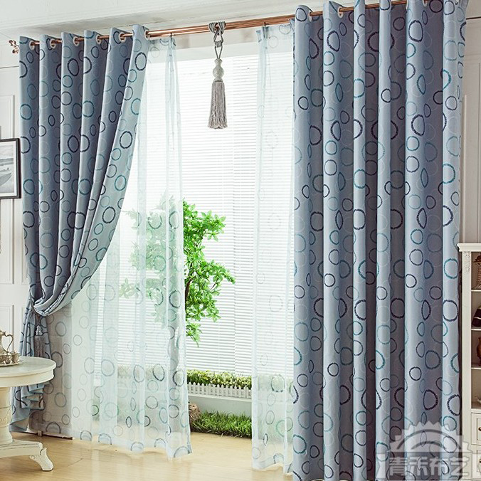 Modern Style Print Circle Thermal Solid Living Room Curtain (Two ...