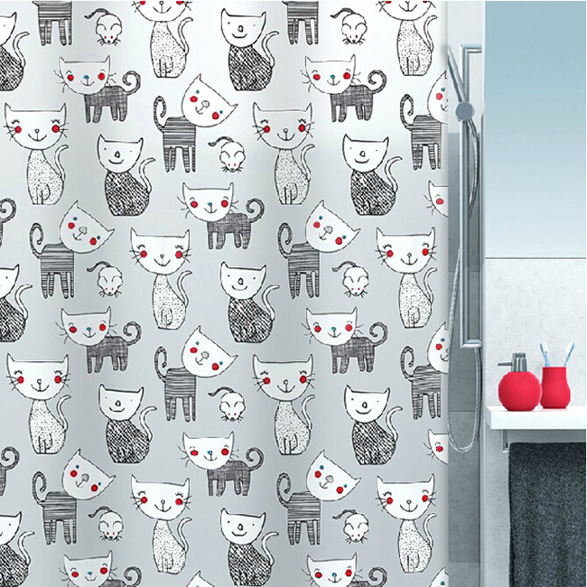 Cat Shower Curtain In Cute Style Loading Zoom