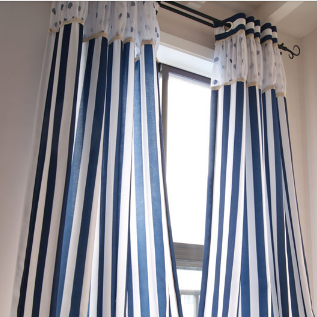 Nautical Style Blue And White Striped Cotton Linen Blend Curtains Two