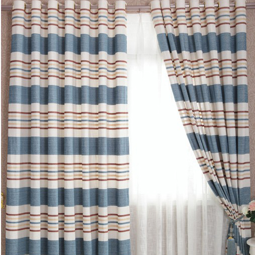 Nautical Style Lineated Striped Curtains For Living Room Loading Zoom
