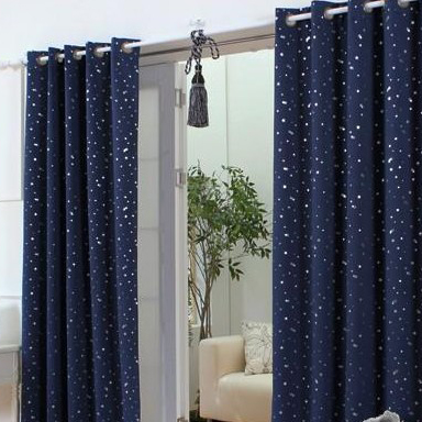 ... Navy Cotton Blackout Curtains With Stars. Loading Zoom