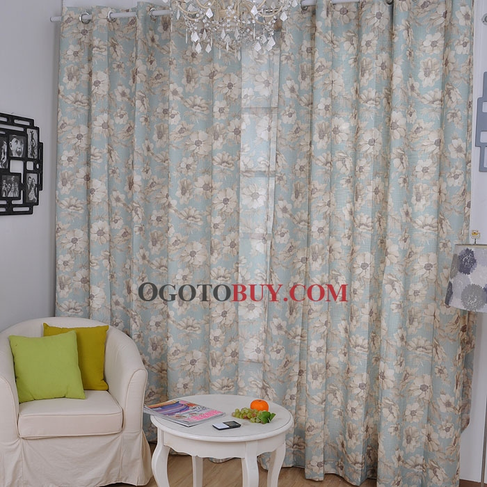 Peaceful Countryside Floral Printed Cotton Light Blue Curtains