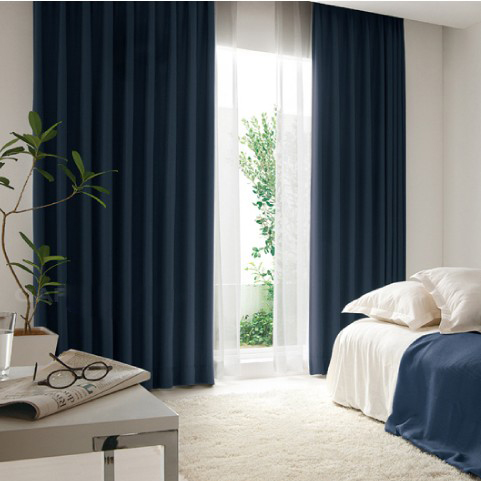 Peaceful European Style Fiber Flocking Curtains in Navy