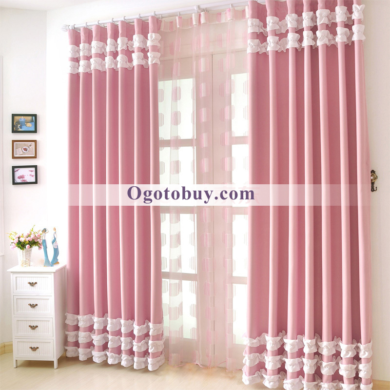 Pink Country Stlye Heavy Blackout Girls Room Curtains, Buy Pink ...
