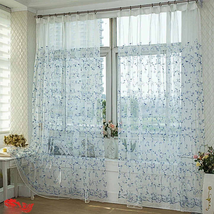 loading zoom pretty flower embroidery sheer curtains