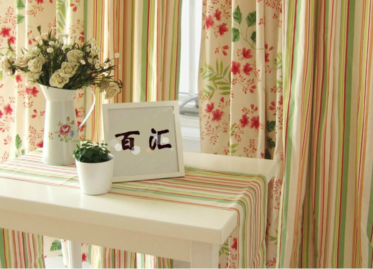 Flowers And Stripes Living Room Curtains Loading Zoom