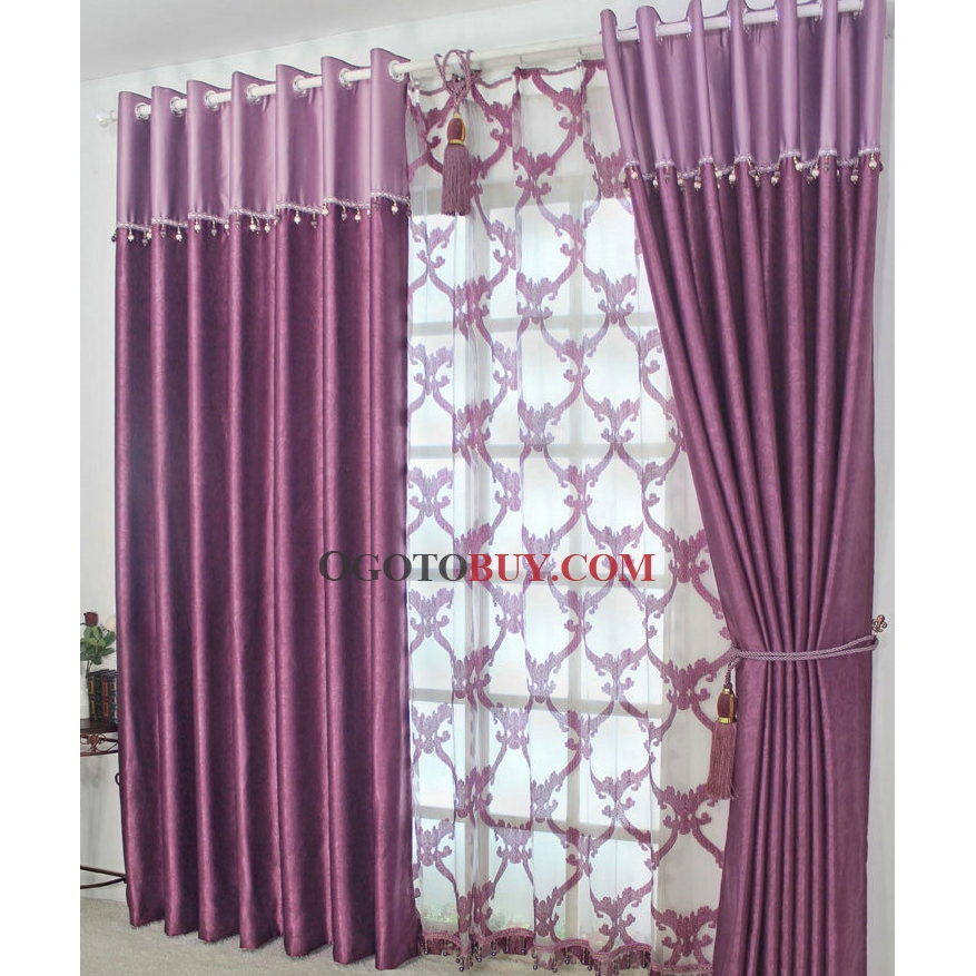 Purple Printed Fancy Sound Absorption Curtains