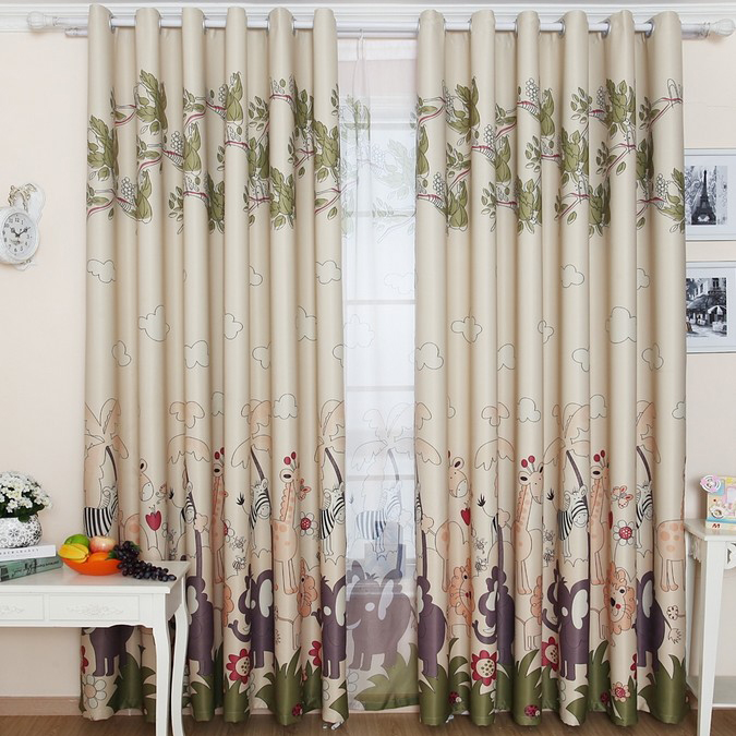 Rainforest Style Animal Printed Kids Curtains