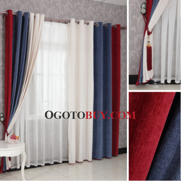 Red And Dark Blue Modern Striped Cheap Long Curtains, Buy dark ...