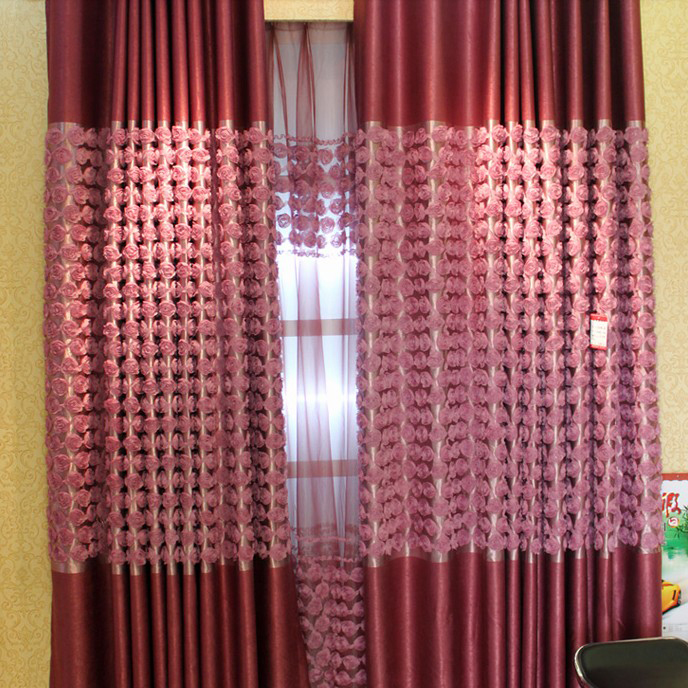 Loading Zoom. Red Flower High End Yarn And Poly Blackout Curtains ...