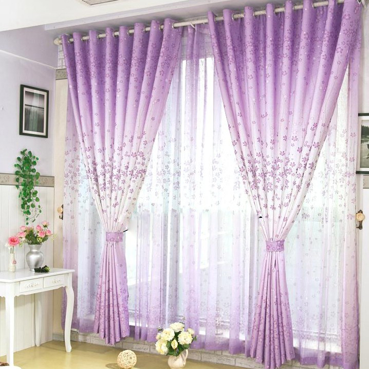 Romantic Energy Saving Floral Printed Curtains in Lilac